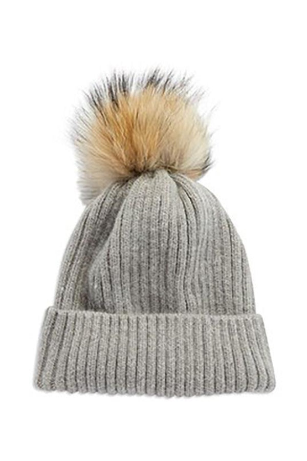 Grey Ribbed Pom Pom Hat