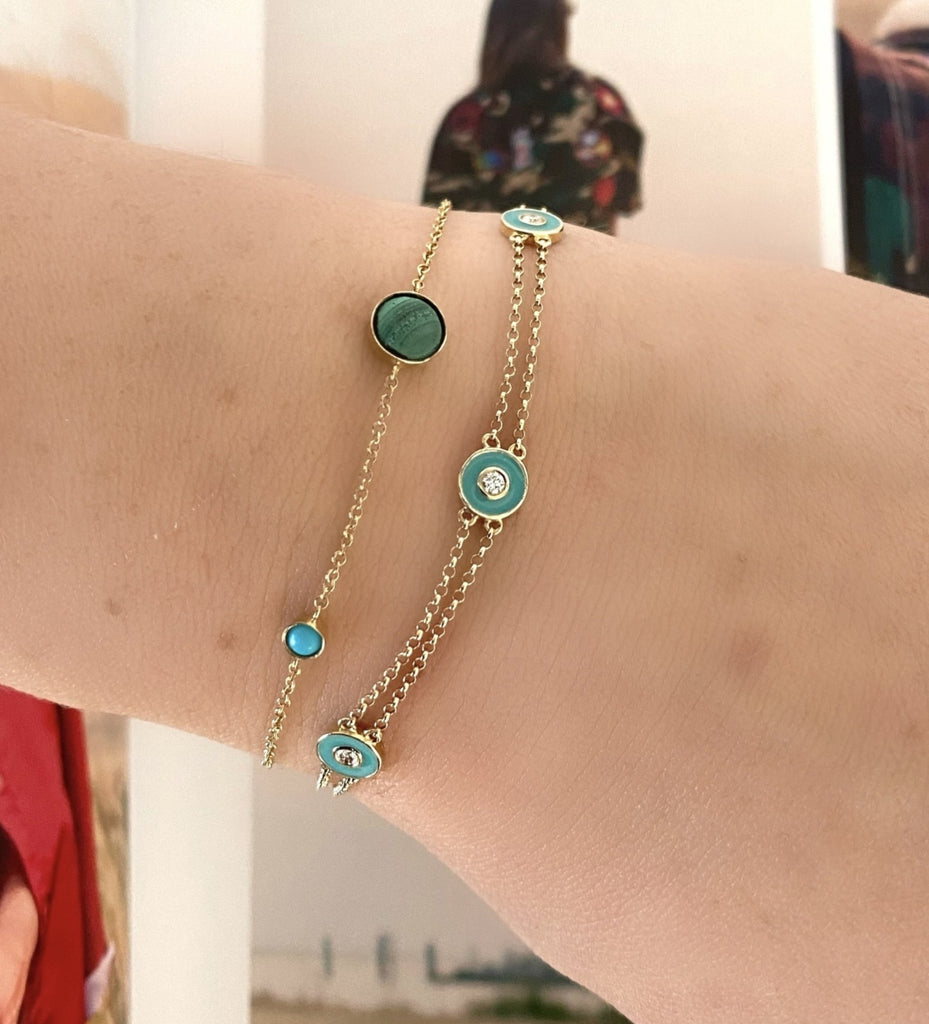 Yellow Gold Turquoise Chain Bracelet