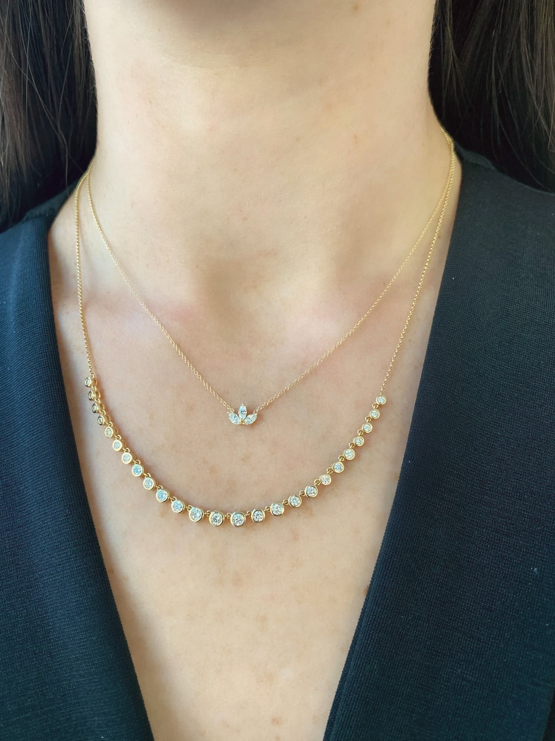 Gold Diamond Flower Crown & Bezel Strand Necklaces