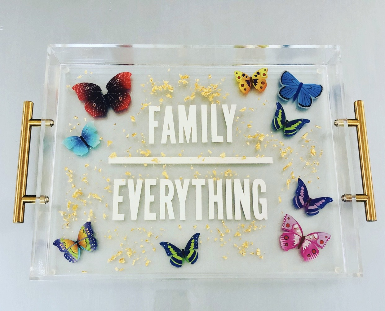 RESINatebyks Lucite Butterfly 'Family Over Everything' Tray