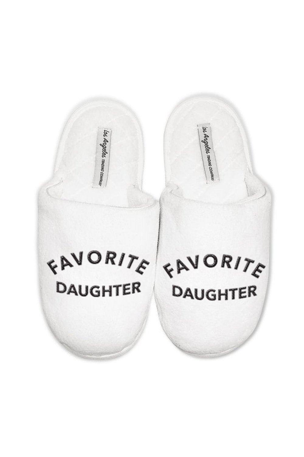 LA Trading Co White Plush Slippers Favorite Daughter