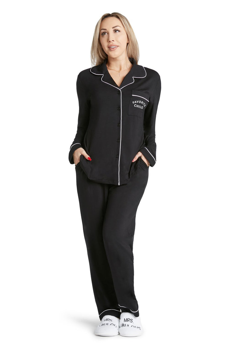 Black Lightweight PJ Set Favorite Child