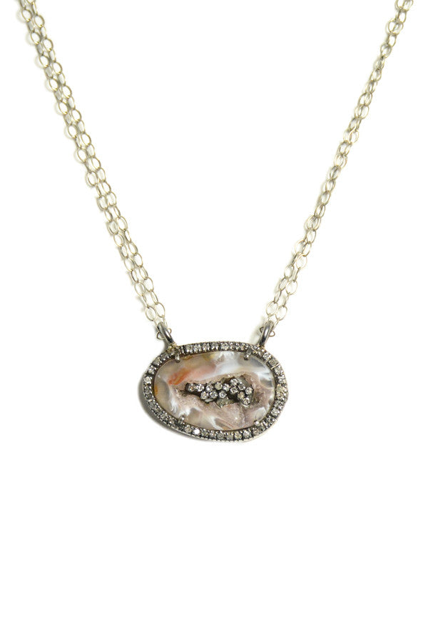 Necklace Oxidized Geode & Diamond
