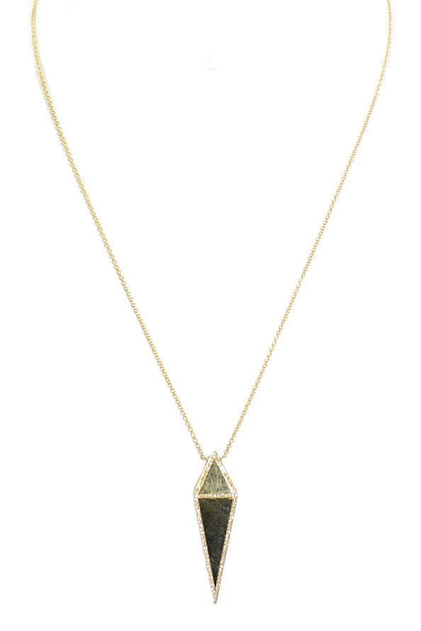 Diamond & Gold Pyramid Point Pendant Necklace
