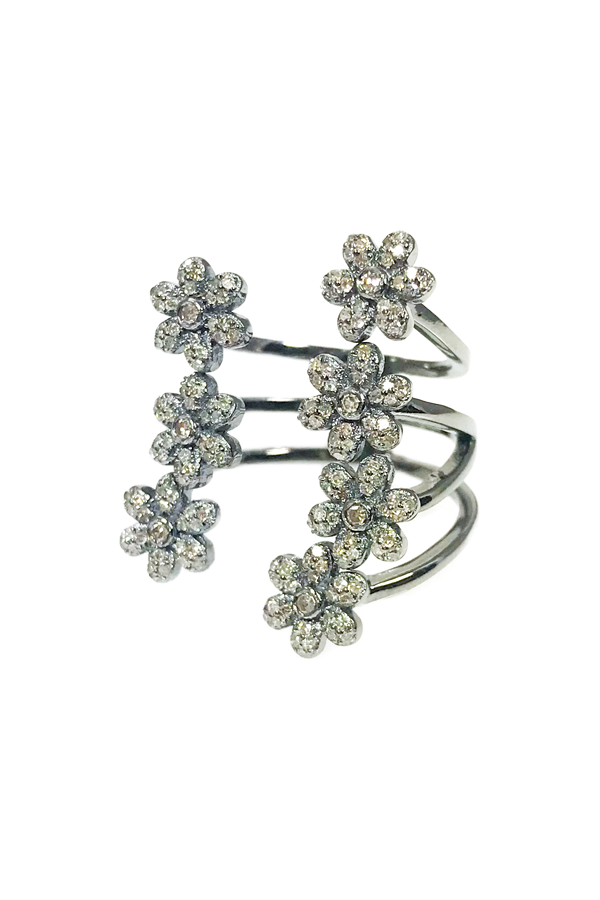Oxidized Silver Open Diamond Flowers Ring