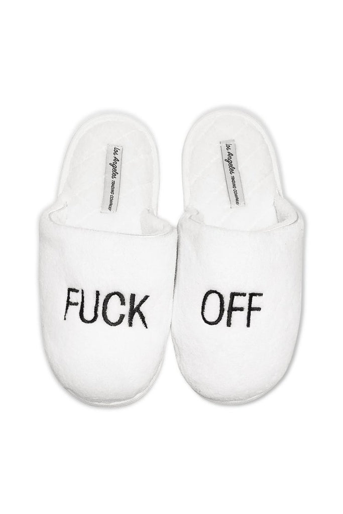LA Trading Co White Plush Slippers F Off