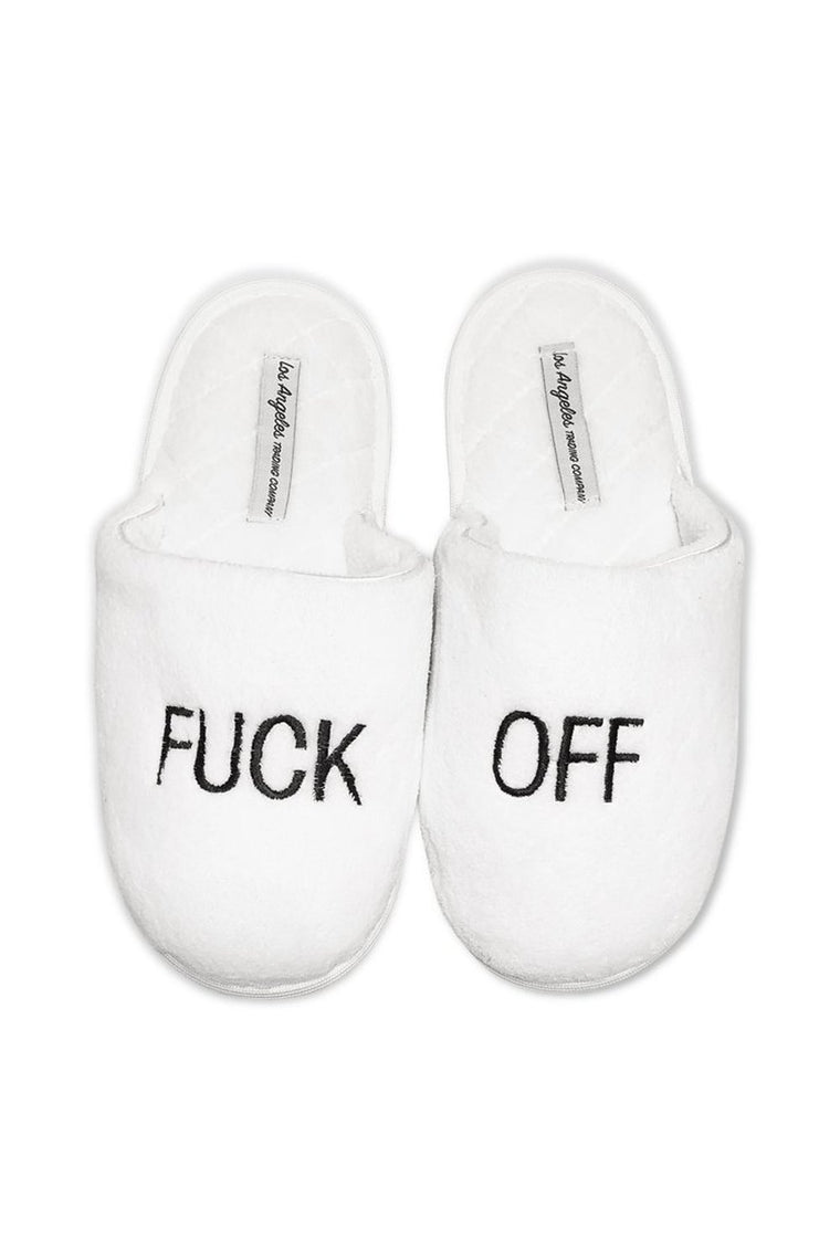 White Plush Slippers F Off