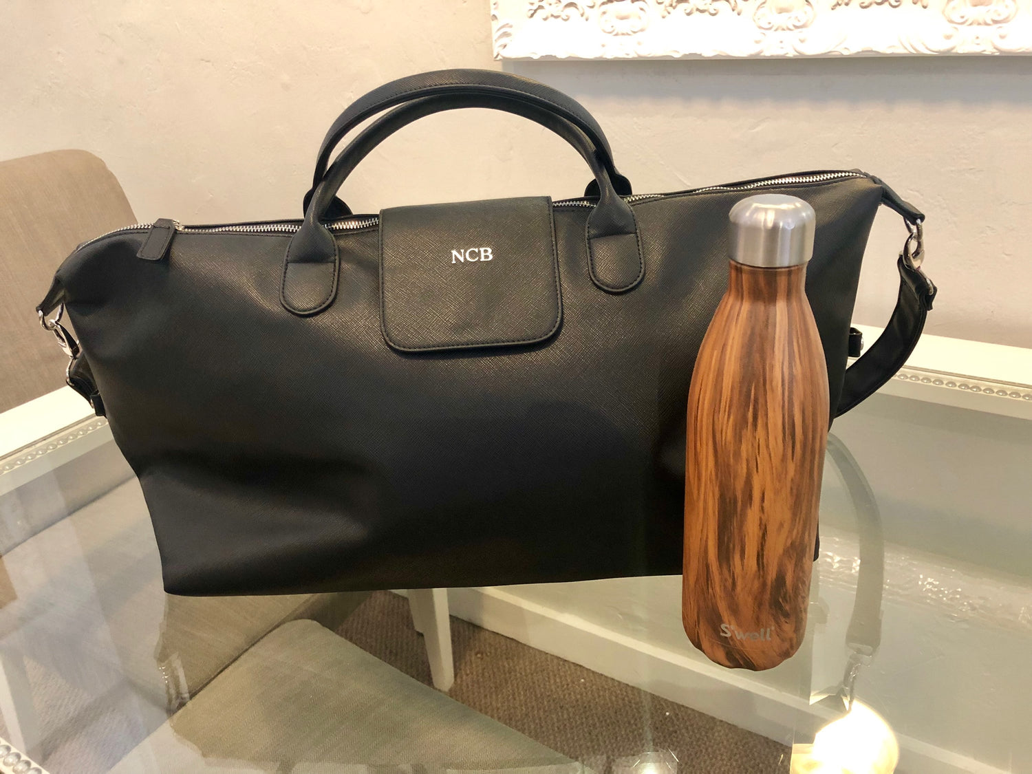 Brouk&Co Black Leather Duffle Bag
