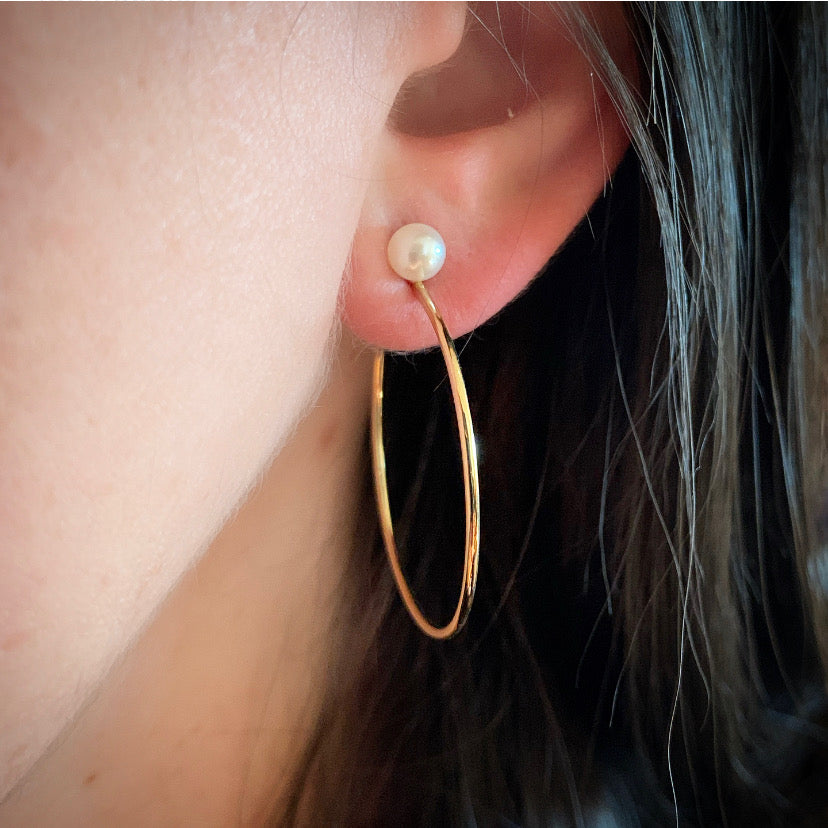 Gold & Pearl Post Hoop Earrings