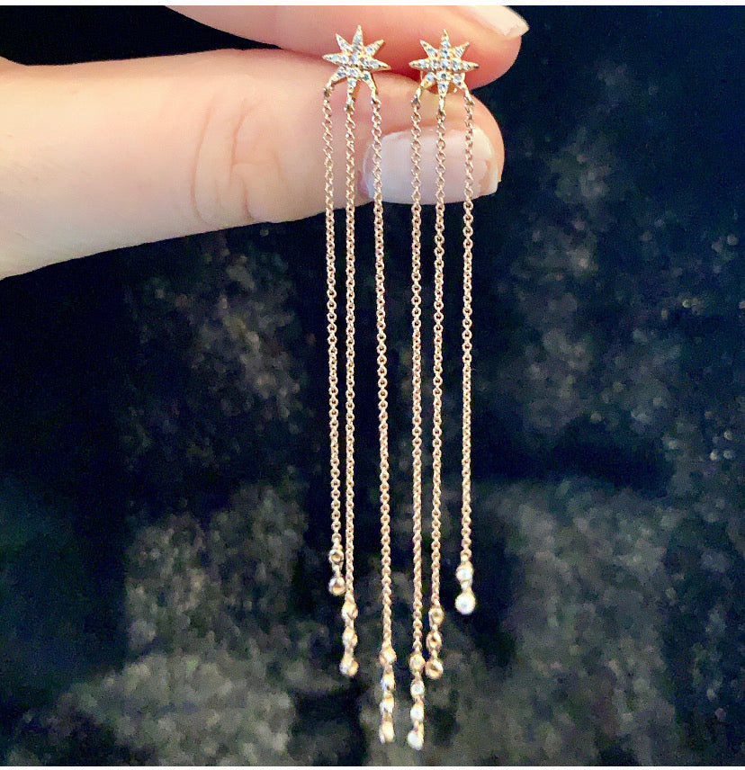 Rose Gold Diamond Stars & Chain Drops