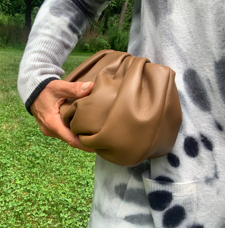 Ling Wu Bubble Mini Leather Tan Clutch