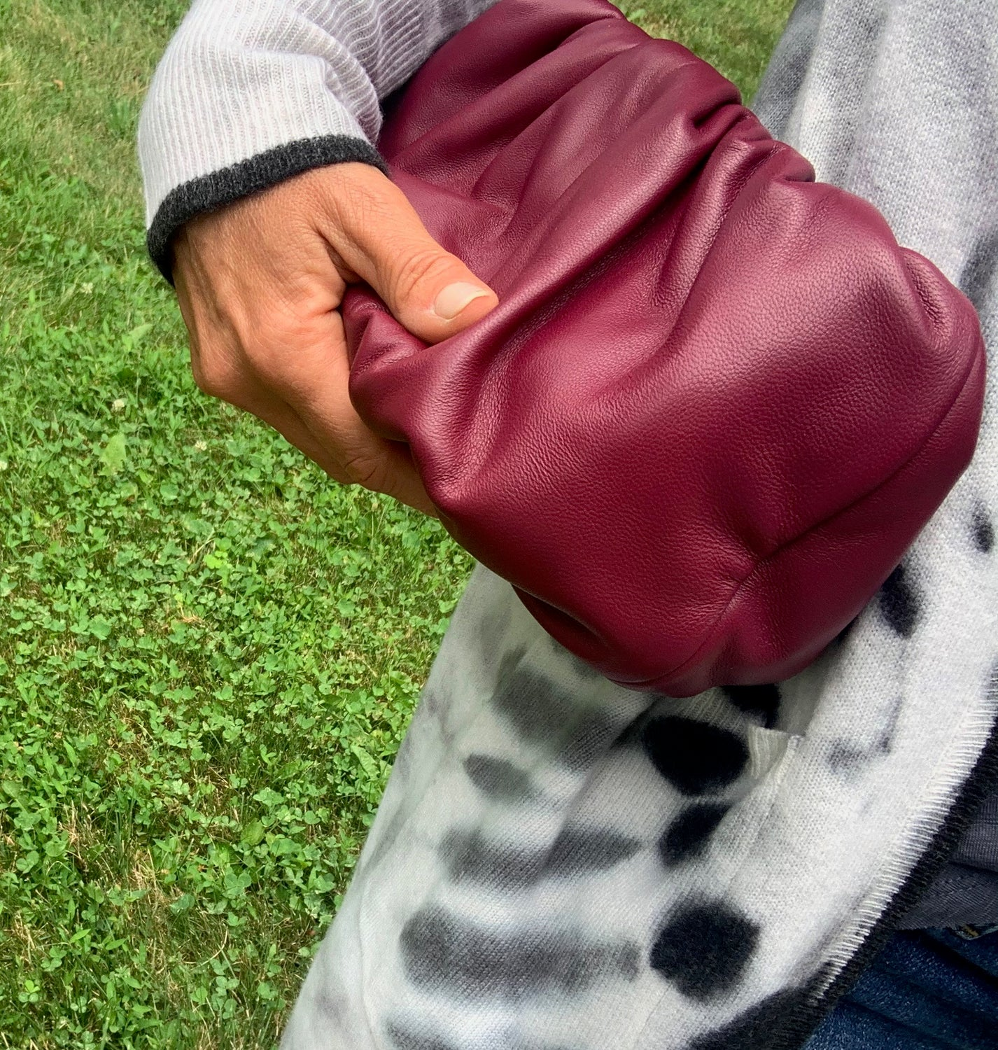 "Ling Wu Bubble 10"" Leather Burgundy Clutch"