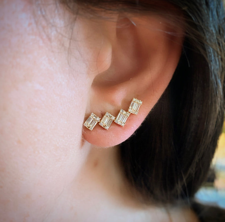 Gold Diamond Ear Climbers