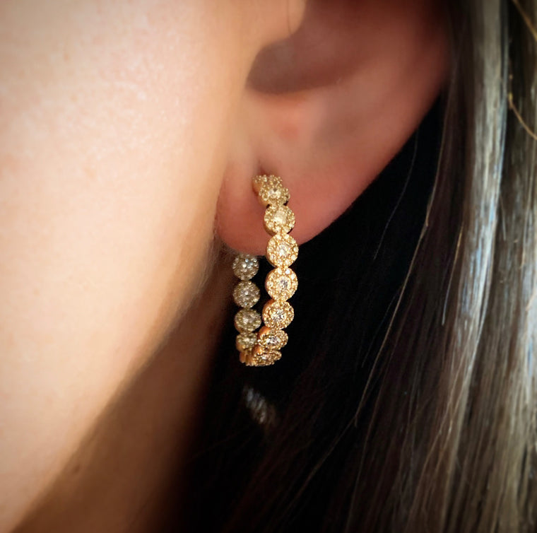 Yellow Gold Pave Diamond Hoops
