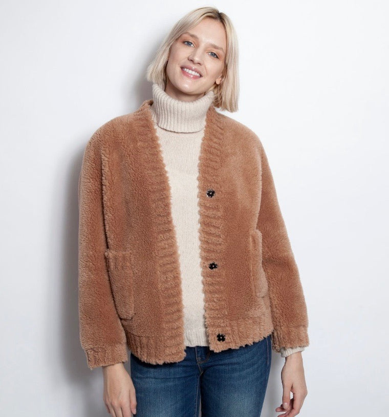 Beige Faux Shearling Sweater Coat