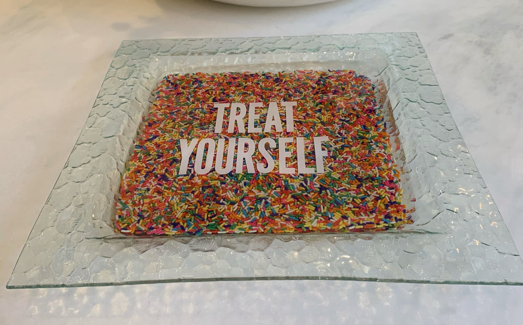 RESINatebyks Square Sprinkles 'Treat Yourself' or 'Love' Platter