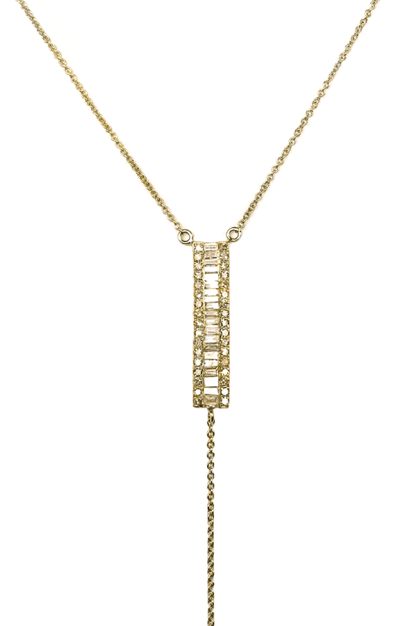 Diamond Baguettes Lariat Yellow Gold