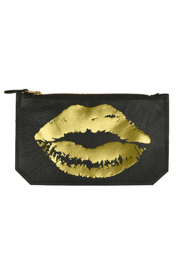 Clutch/Pouch Leather Lip Gold