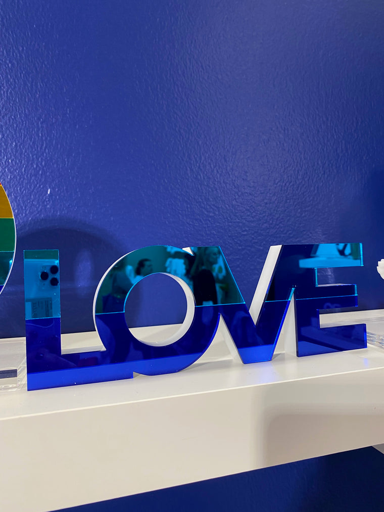 Blue LOVE Tabletop Sculpture