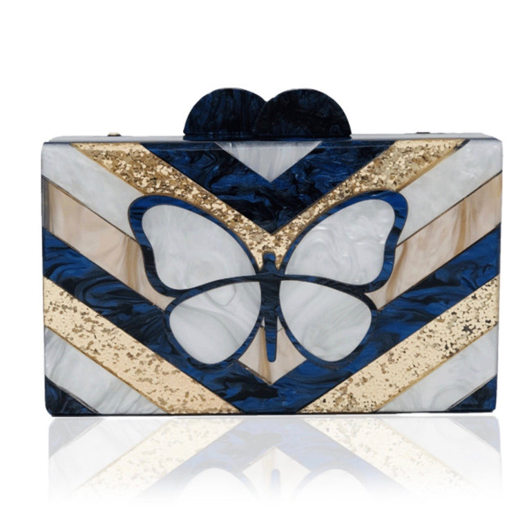Navy Butterfly Acrylic Clutch