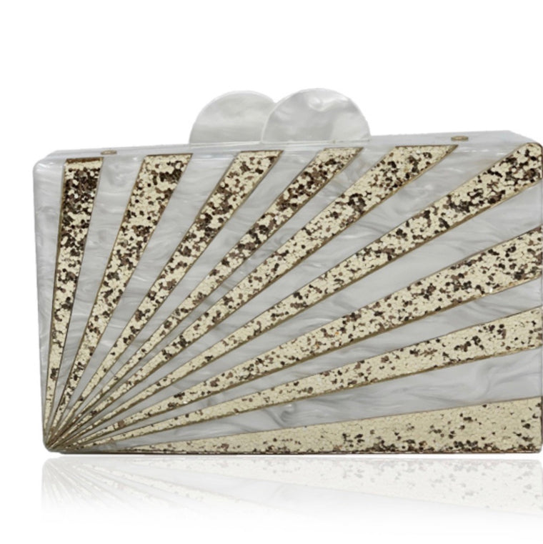 Gold and Pearl Acrylic Clutch