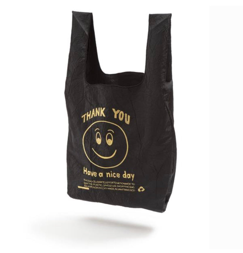 Reusable Black & Gold Smile Mini Tote