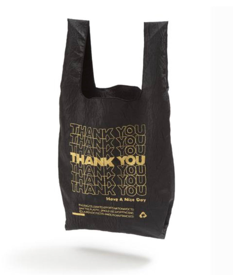 Open Editions Reusable Black & Gold Thank You Mini Tote