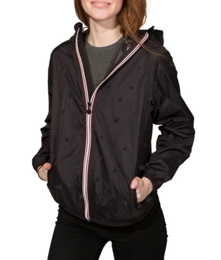 08 Lifestyle Women's Gloss Stars Black Full Zip Packable Rain Jacket