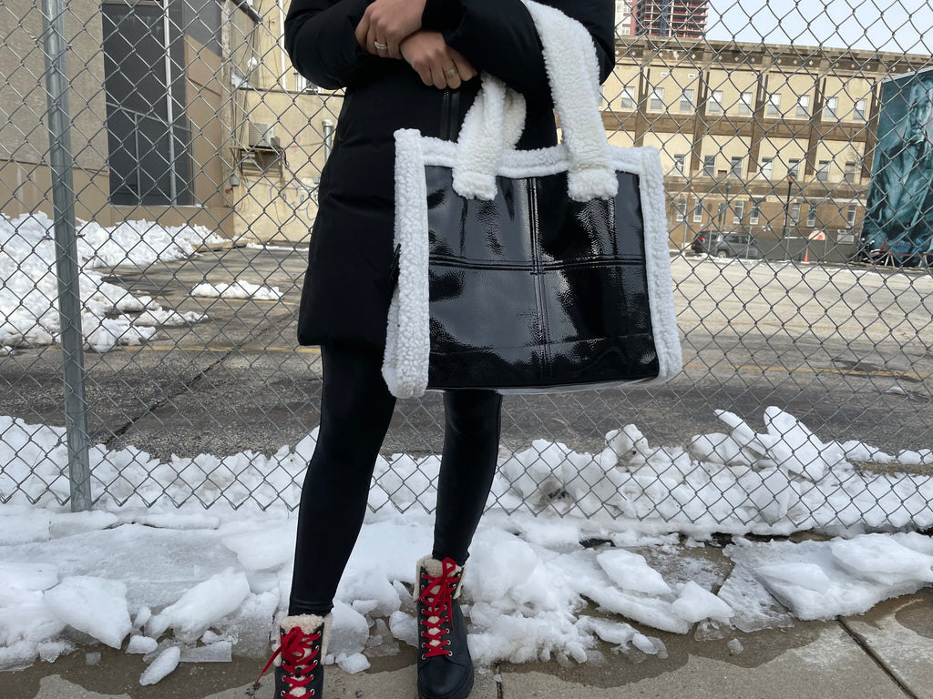 Rae of Light Black Patent and White Shearling Tote (PREORDER)
