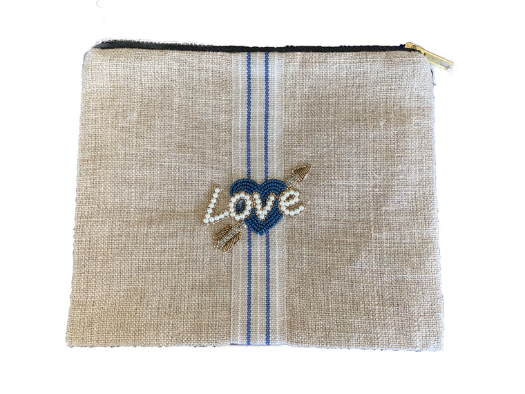 Linen Pouch with Beaded Crystals Love
