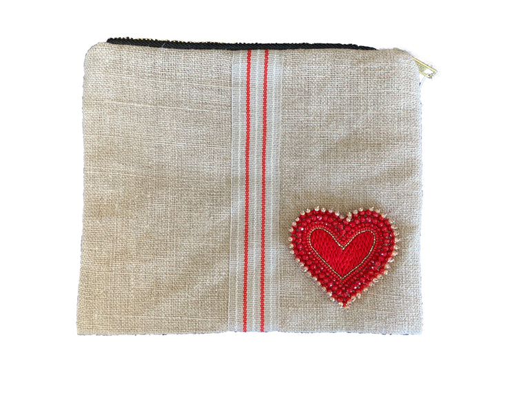 Linen Pouch with Beaded Crystals Heart