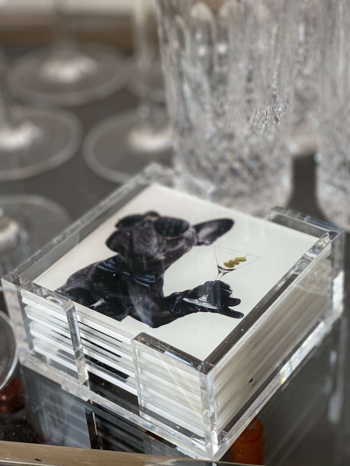 Acrylic Frenchie Martini Coaster Set