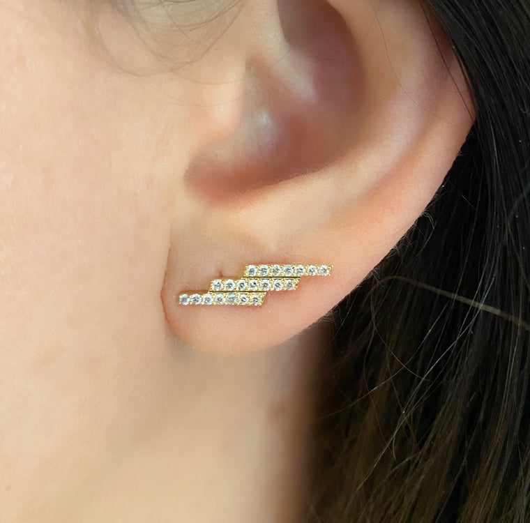 Diamond Zig Zag Earrings