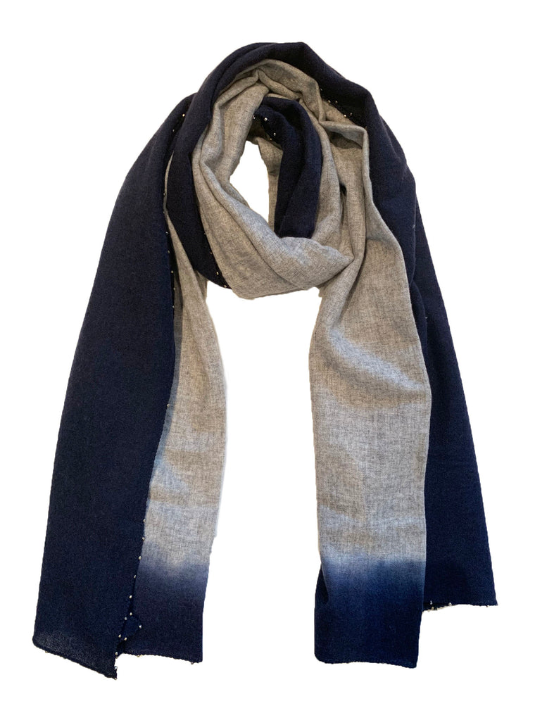 Navy Ombre Beaded Scarf