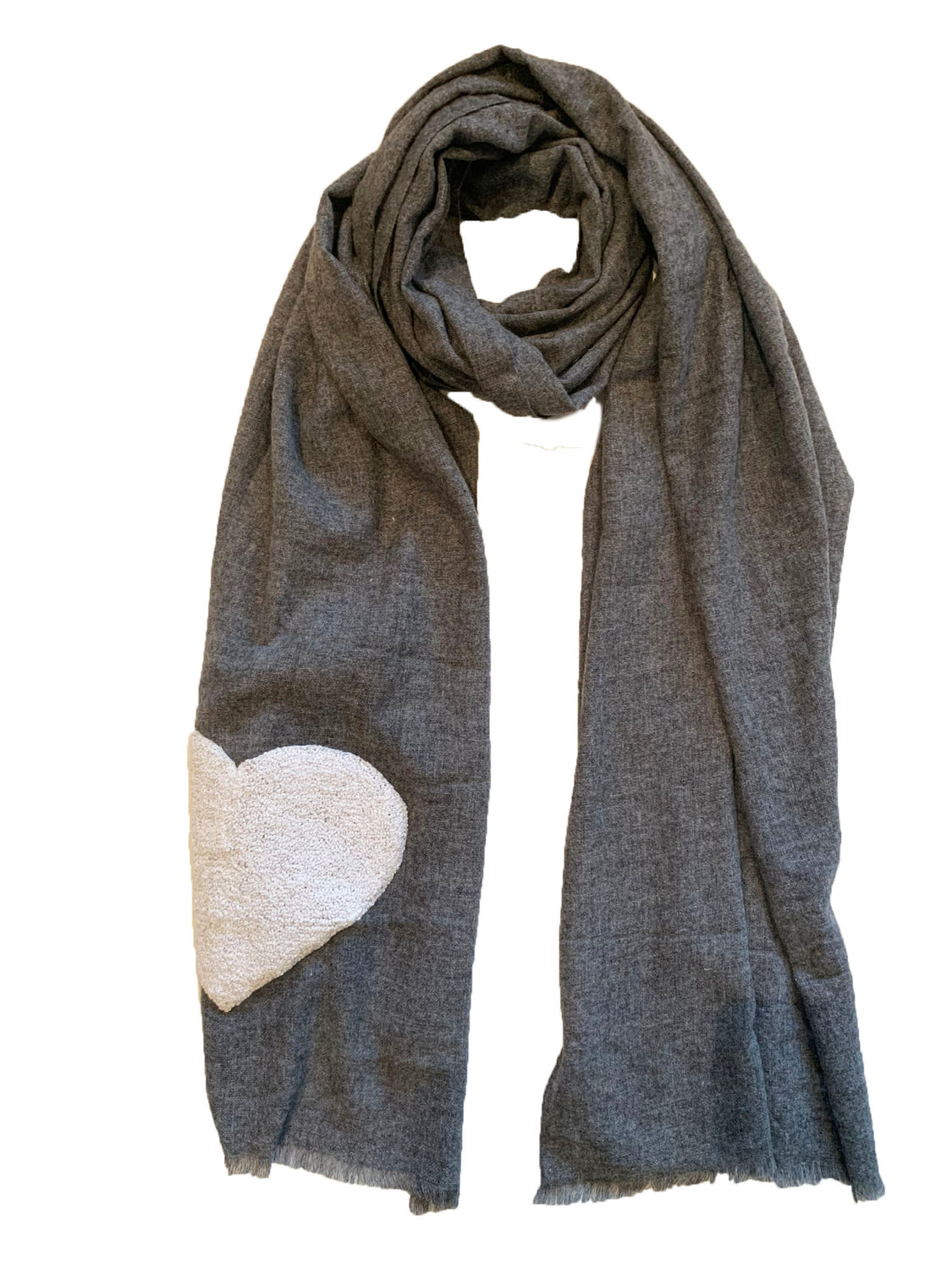 Grey Large Heart Scarf