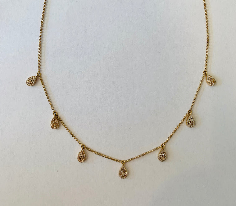 Dangling Pave Diamond teardrop 14kt Gold Necklace