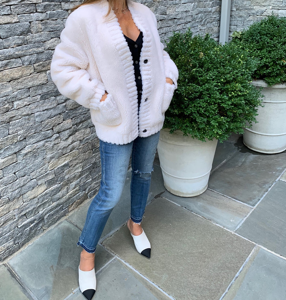 White Faux Shearling Sweater Coat