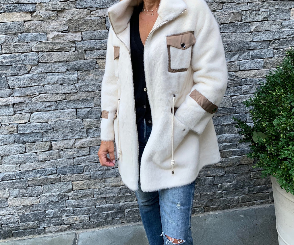 Faux Fur White & Camel Long Jacket