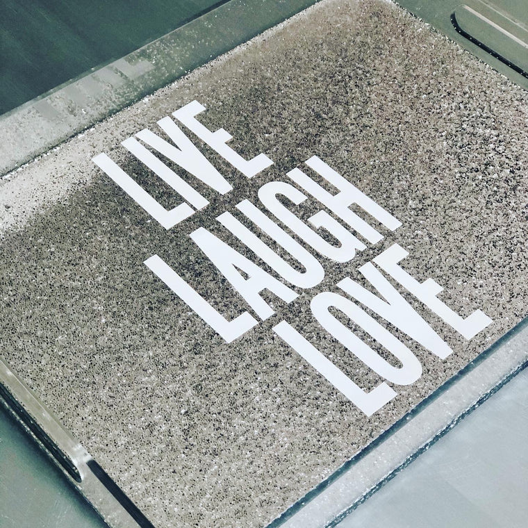 RESINatebyks Lucite Live Love Laugh Tray
