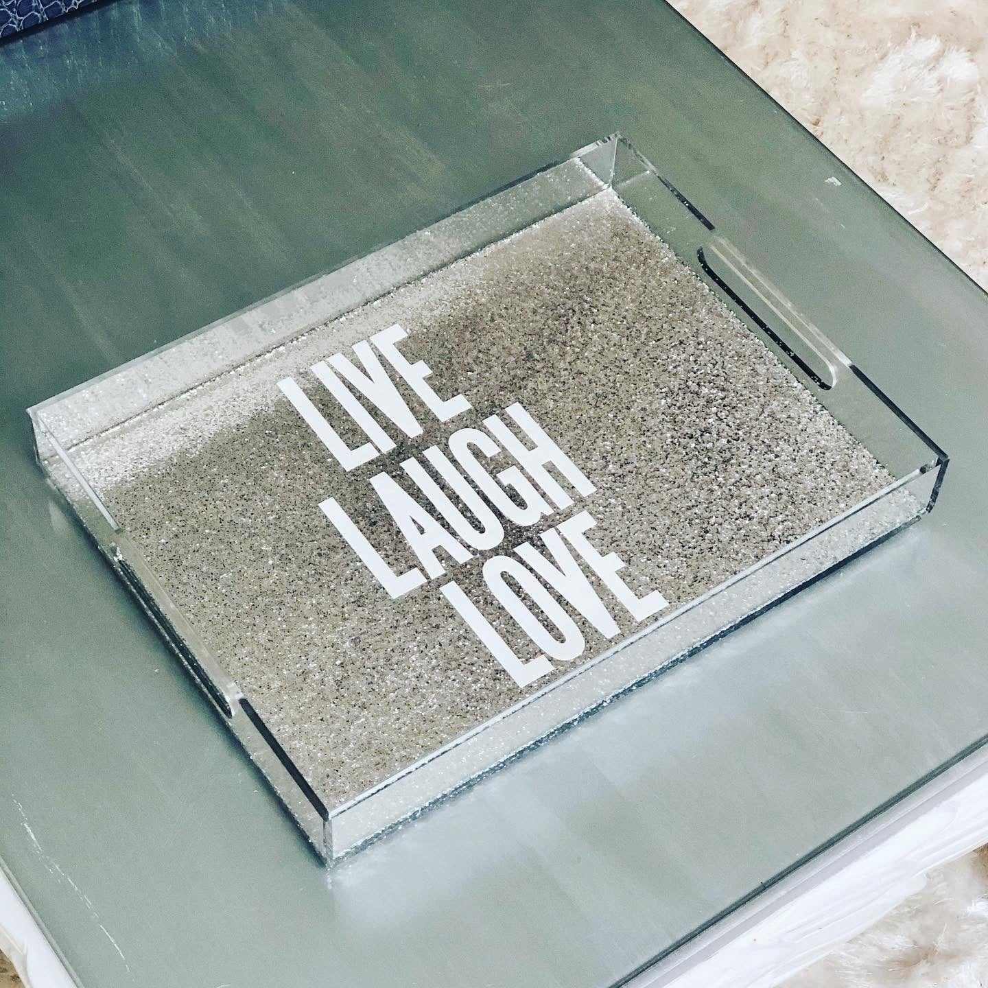 RESINatebyks Lucite Live Laugh Love Tray