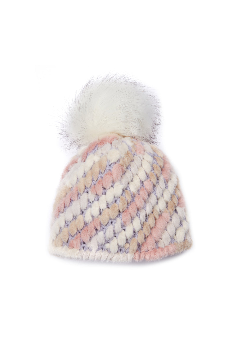 Jocelyn Pastel Multi Knitted Faux Fur Pom Hat