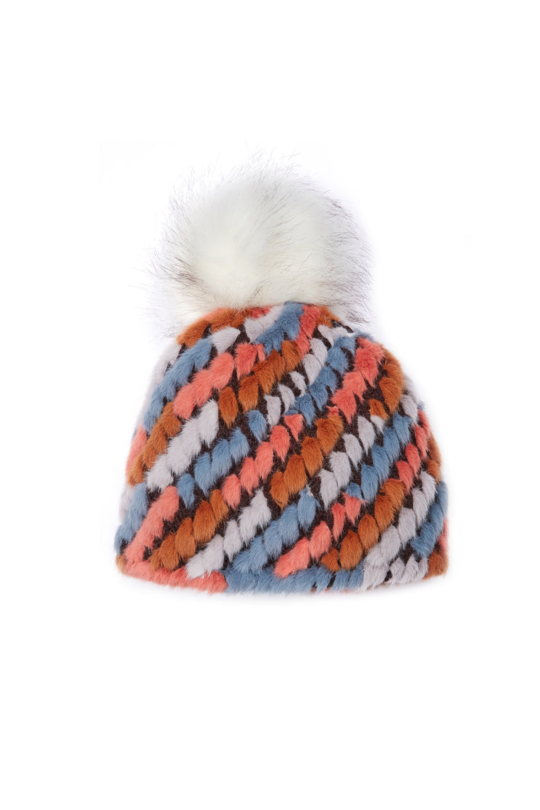 Jocelyn Tan Multi Knitted Faux Fur Pom Hat