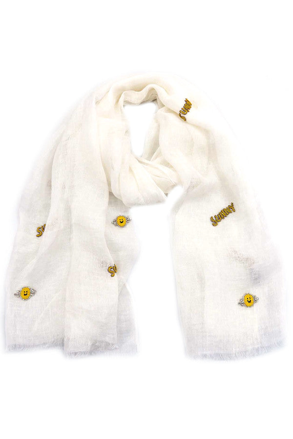 Scarf White w/ Crystal Sunny & Smiley