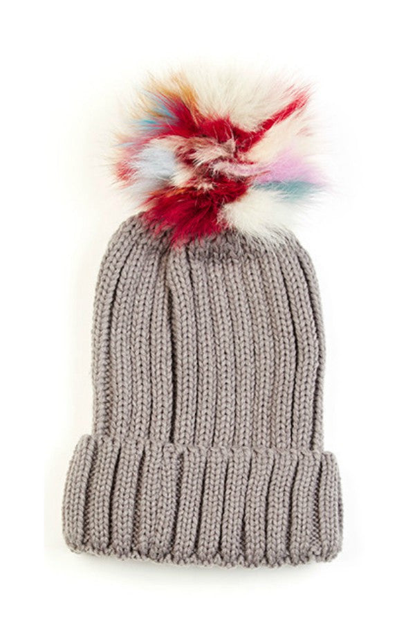 Hat Ribbed Pom Pom in Grey & Ivory