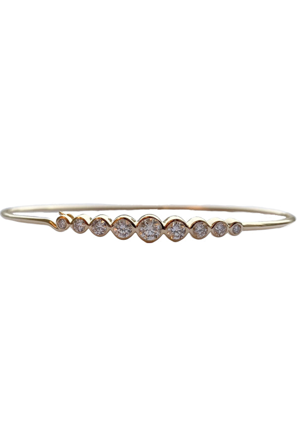 Gold Diamond Bezel Bangle