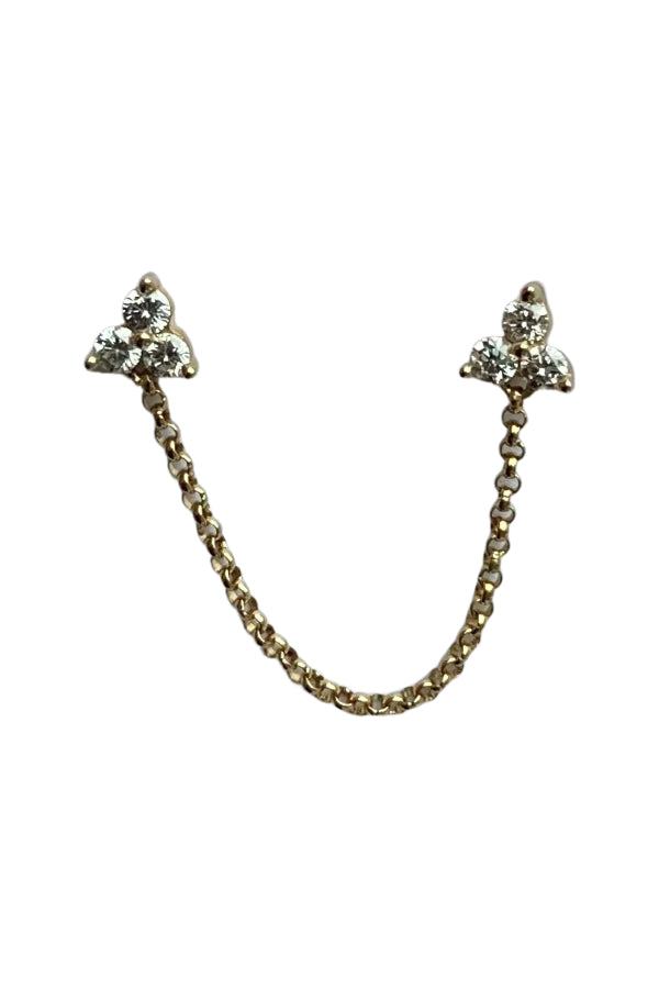 Gold Triple Diamond Double Post Chain Earring