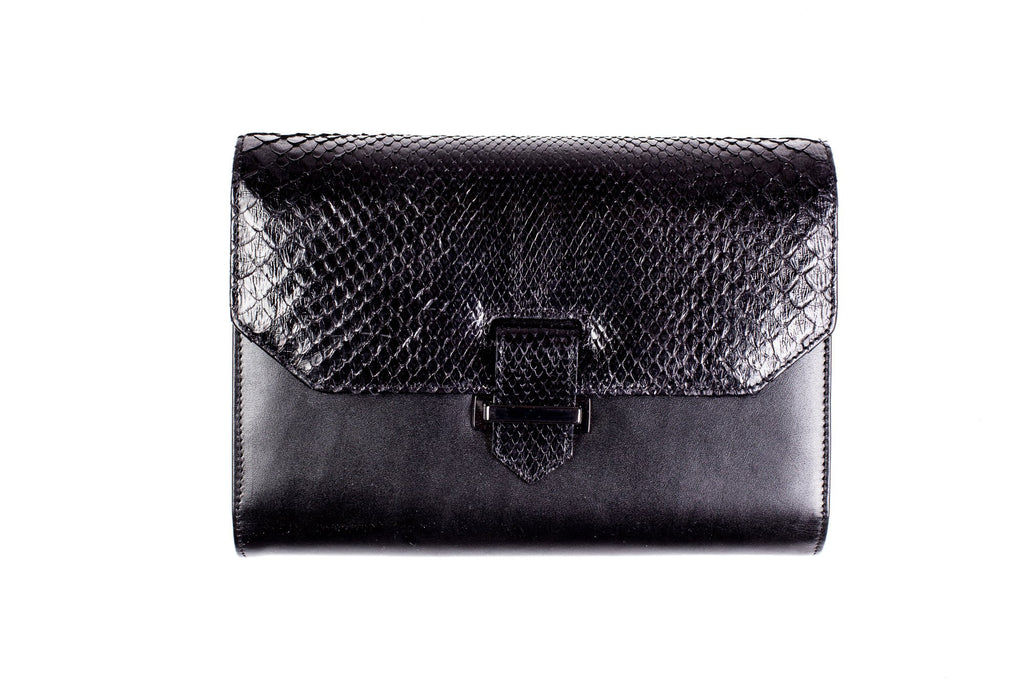 Black Python & Leather Clutch