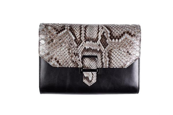 J. Markell Natural Python & Leather Clutch