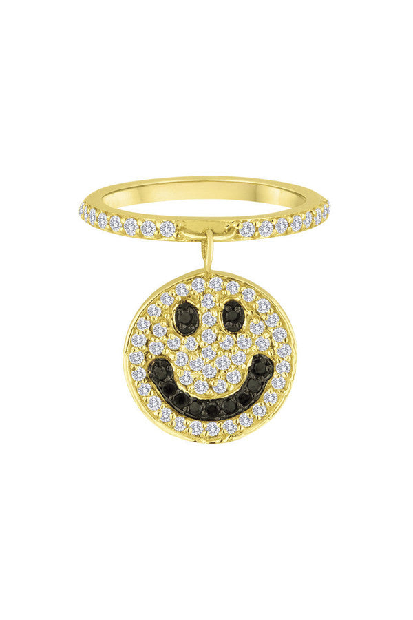 Diamond Smiley Face Ring