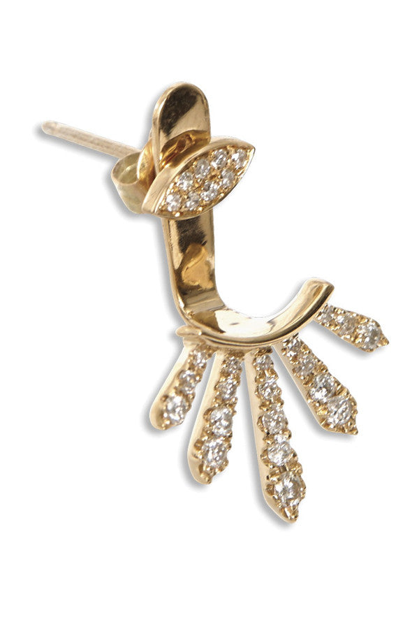 Earrings Diamond Spiked Ear Jacket (Yellow, Rose, White or Rhodium)